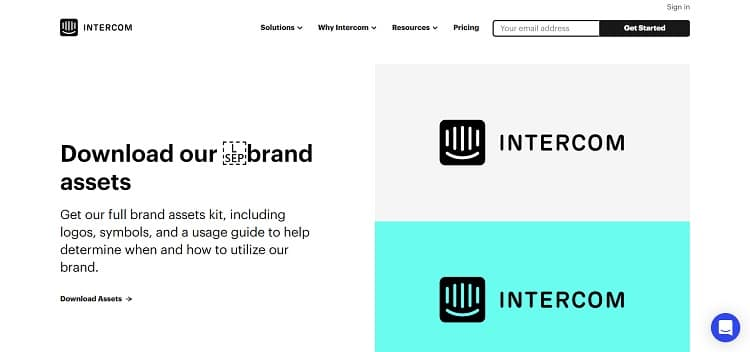 intercom press page media kit example